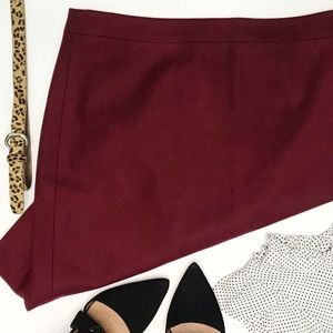 J.CREW Cranberry Double Serge Wool Pencil Skirt